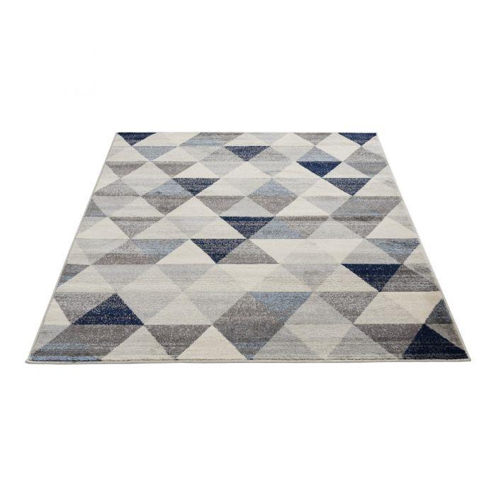 Alle Artikel Moderner Kurzflor Teppich Blau | Geo Dreieck Muster | MY3710M