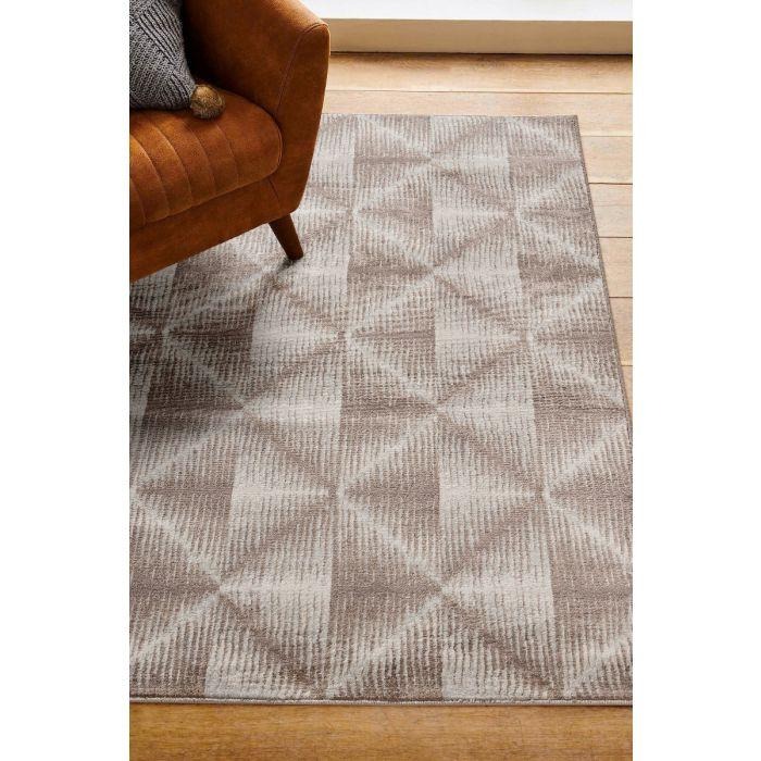 Moderner Kurzflor Teppich Beige Geo Viereck Muster M3732B