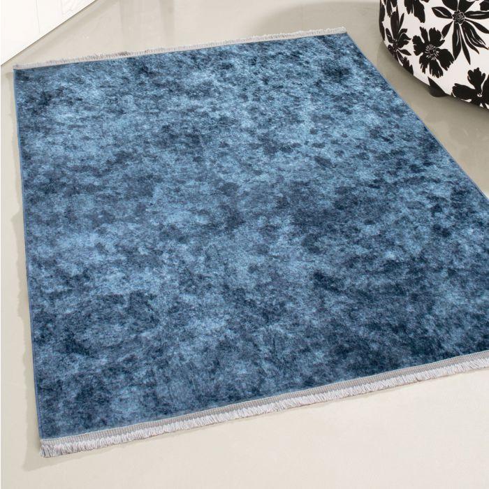 MYNES HOME Antibakteriell Waschbarer Teppich Blau | Moderne Linien | Melierung MY2860