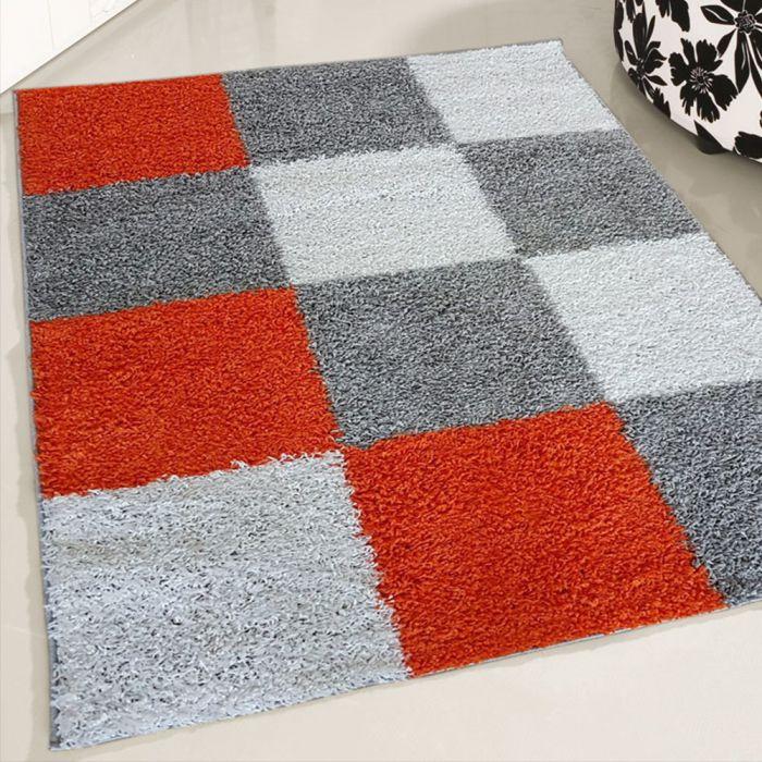 70x140 cm Shaggy Hochflor Teppich Orange Weiss Karierte Kacheln MY381 30 mm