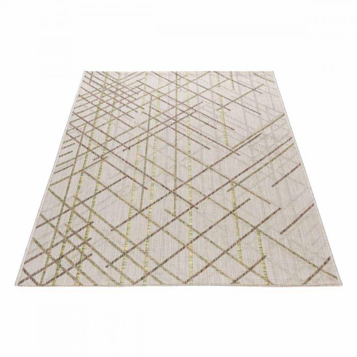 Outdoor Teppich in Geo Grün Grau mit Struktur M3620