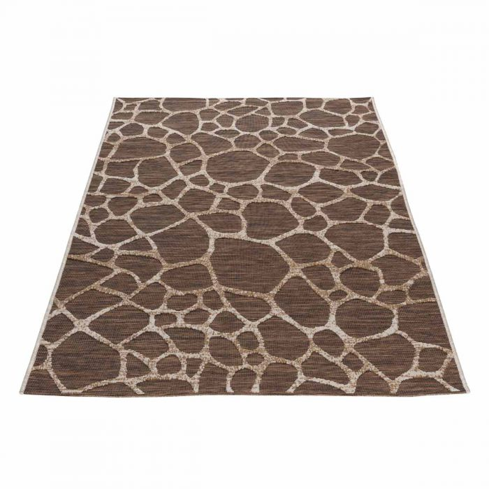 Outdoorteppich in Beige Braun mit 3D Struktur M3450