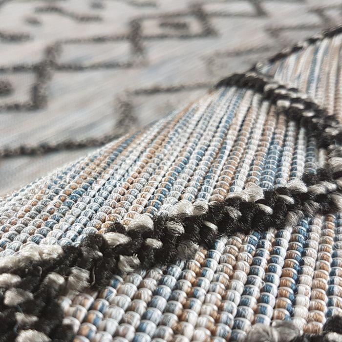 Abstrakte Muster Outdoorteppich in Schwarz Bunt mit 3D Struktur | Innen und Außenbereich geeignet | MY3420