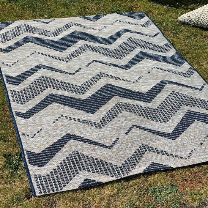 Outdoorteppich in Blau Natur mit 3D Struktur M3440