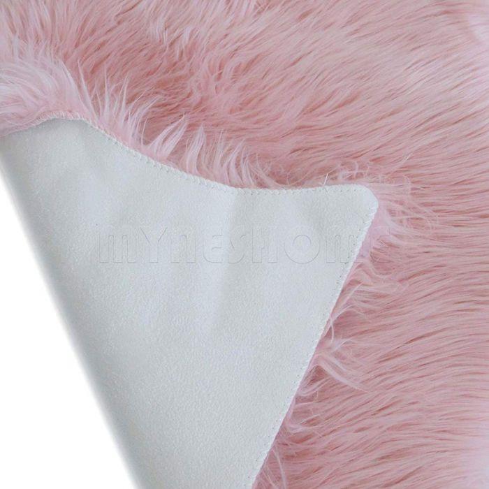 Winter Sale Teppiche Kunstfell Schaffell Imitat Teppich Felldecke Lammfell Rosa in Schafform 55x80 cm
