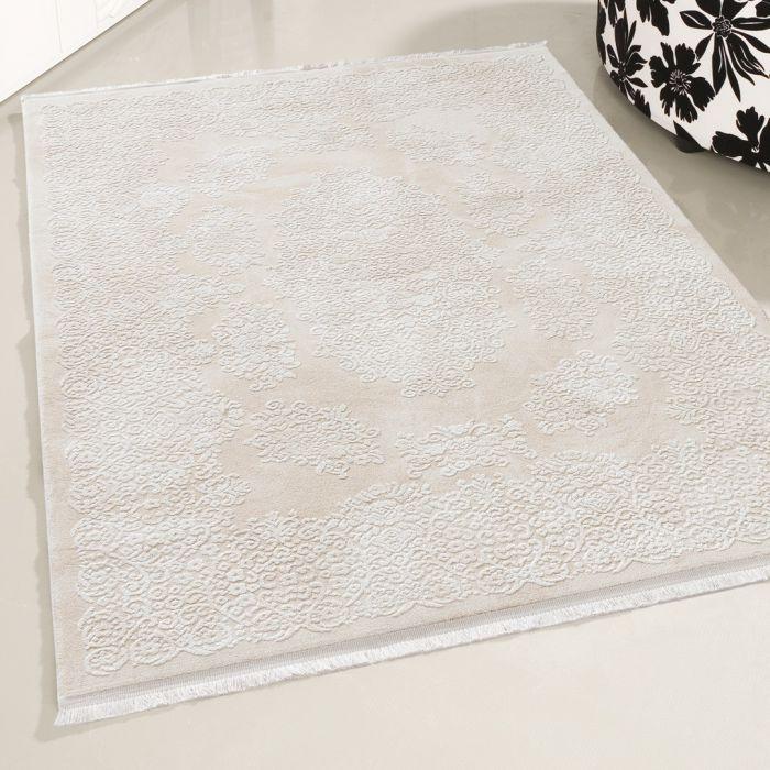 Moderner Designer Teppich Acryl in Creme Beige 2502