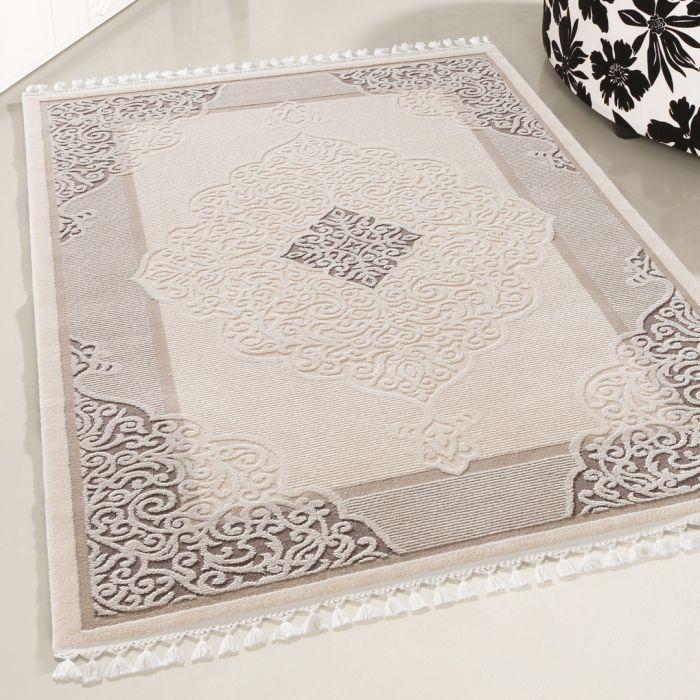 Moderner Designer Teppich Acryl in Beige Braun 6826