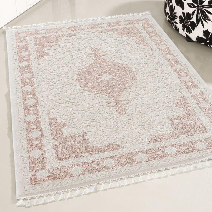 Moderner Designer Teppich Acryl in Weiß Rosa | 6974 SANAT-DELÜKS_6974 Vintage Teppiche