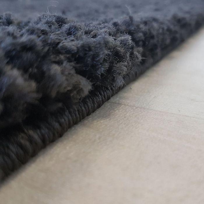 120x120 cm Shaggy Hochflor Teppich Schwarz Einfarbig Uni MY380 30 mm