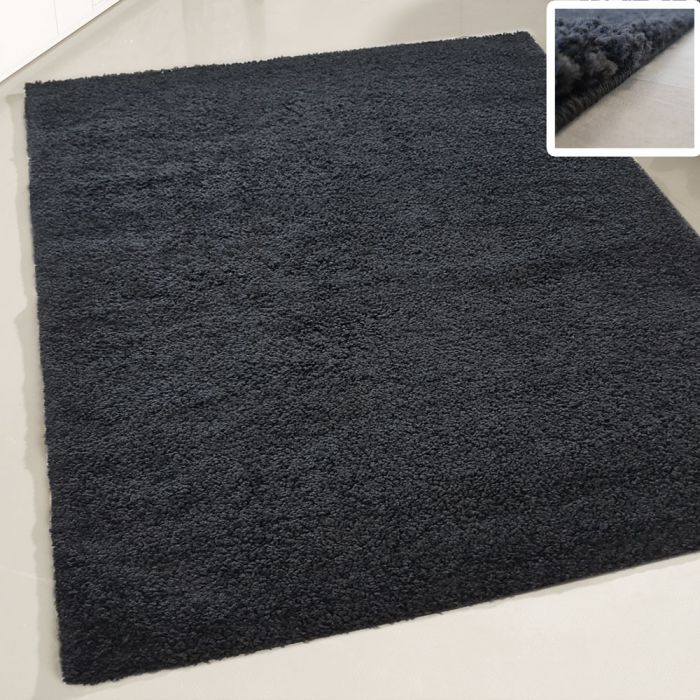 70x140 cm Shaggy Hochflor Teppich Schwarz Einfarbig Uni MY380 30 mm