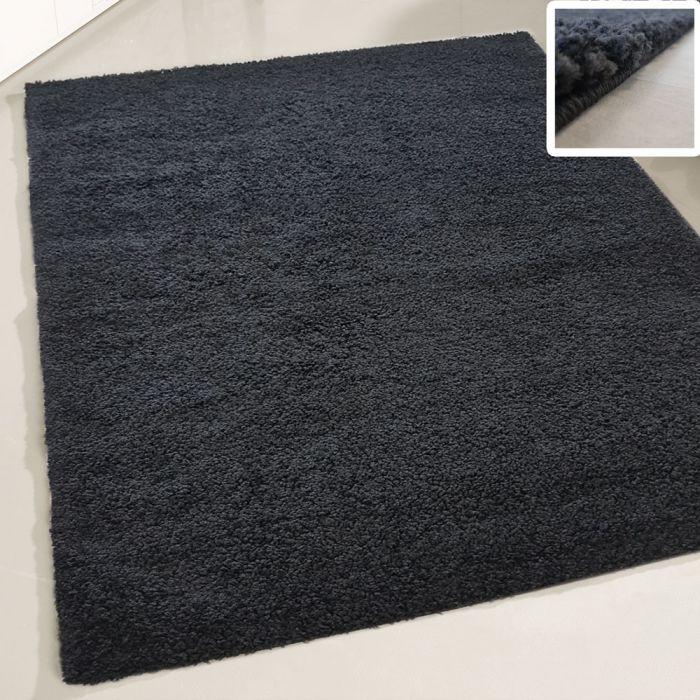 160x220 cm Shaggy Hochflor Teppich Schwarz Einfarbig Uni MY380 30 mm
