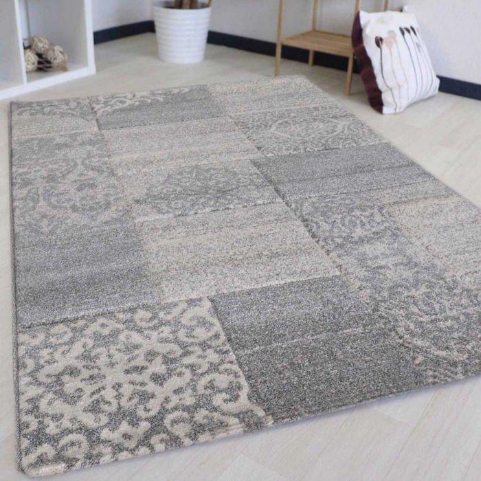 Wohnzimmer Teppich Modern Grau Karo Muster Konturenschnitt M7425G