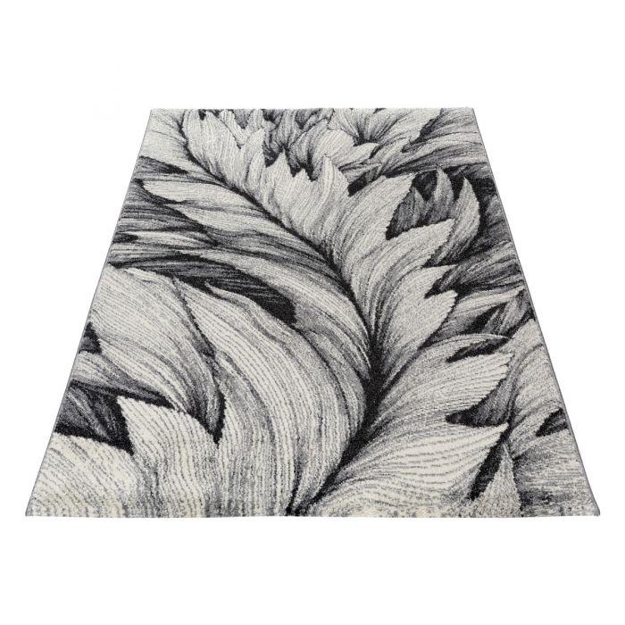 80x150 cm Teppich Kurzflor Grau Weiss Designer Feder Muster MY7610