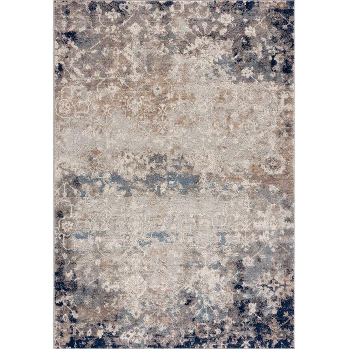 Vintage Teppich Kurzflor Blau Used Look Skandi Style M3720