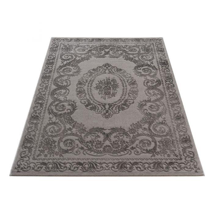 Vintage Teppich mit Medaillon in Grau Schwarz M6650S