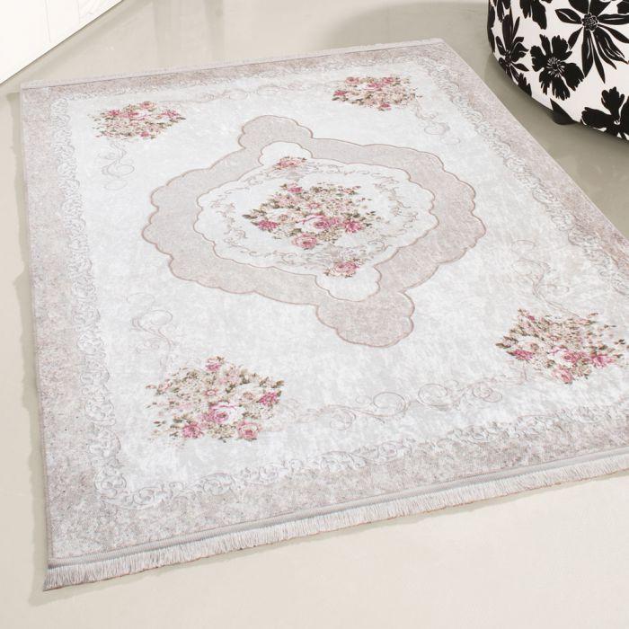 Waschbarer Teppich Antibakteriell Beige Barock mit Blumenmuster M2910J