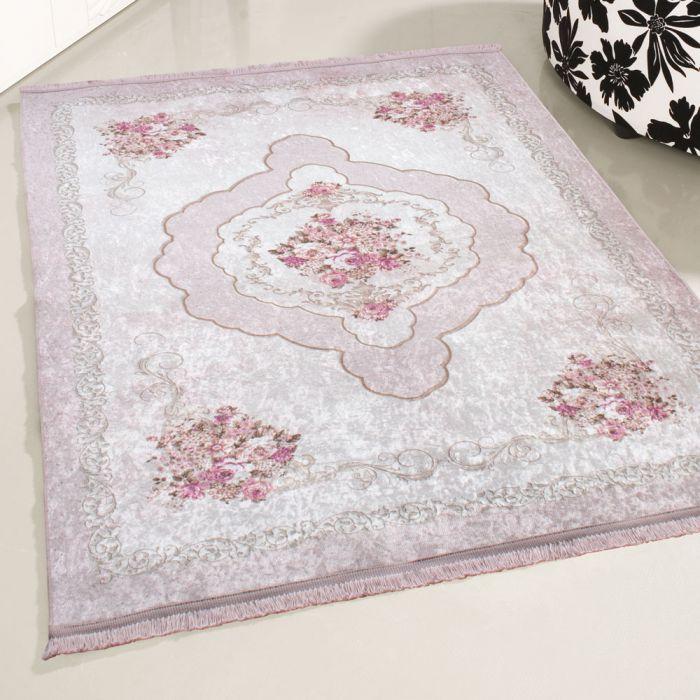 Medaillon Muster Antibakteriell Waschbarer Teppich Rosa | Blumenmuster Barock | MY2911