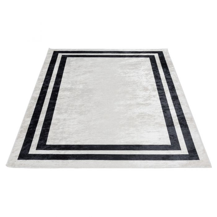 Waschbarer Teppich Antibakteriell Grau Schwarz Umrandung M2970BW