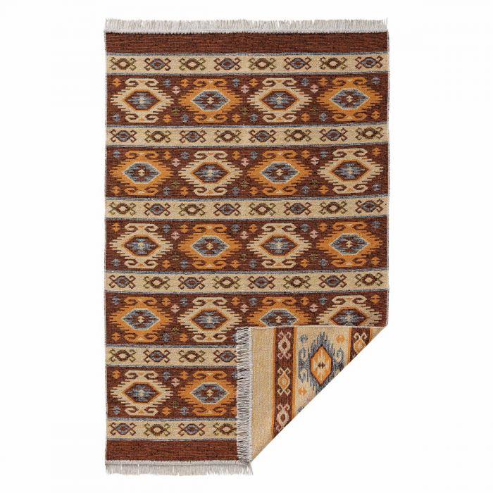 Waschbarer Teppich als Vintage Kilim | MY9930O Tulum-9930-orange Teppich aus Baumwolle