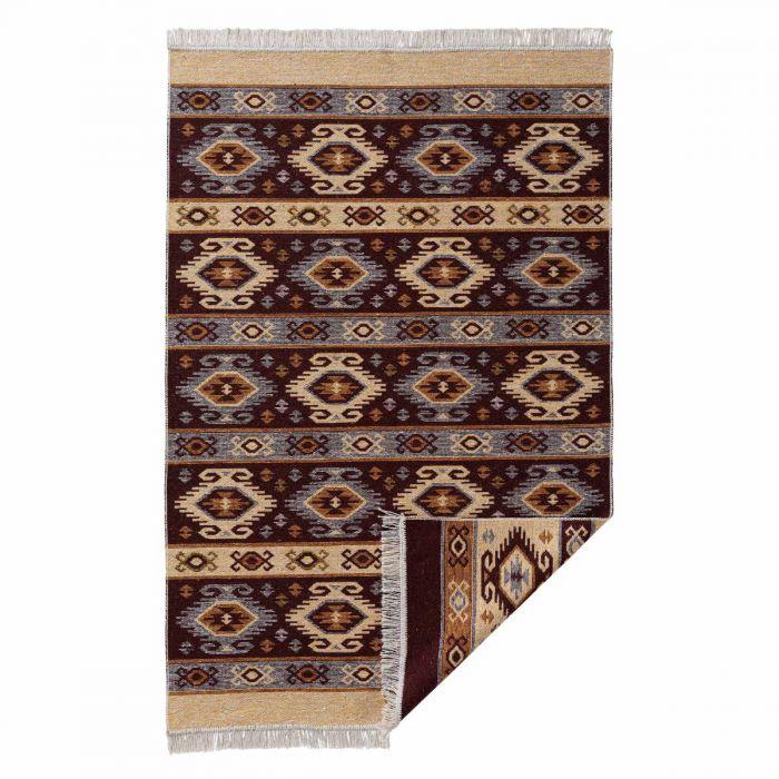Waschbarer Teppich als Vintage Kilim | MY9930V Tulum-9930-braun Teppich aus Baumwolle