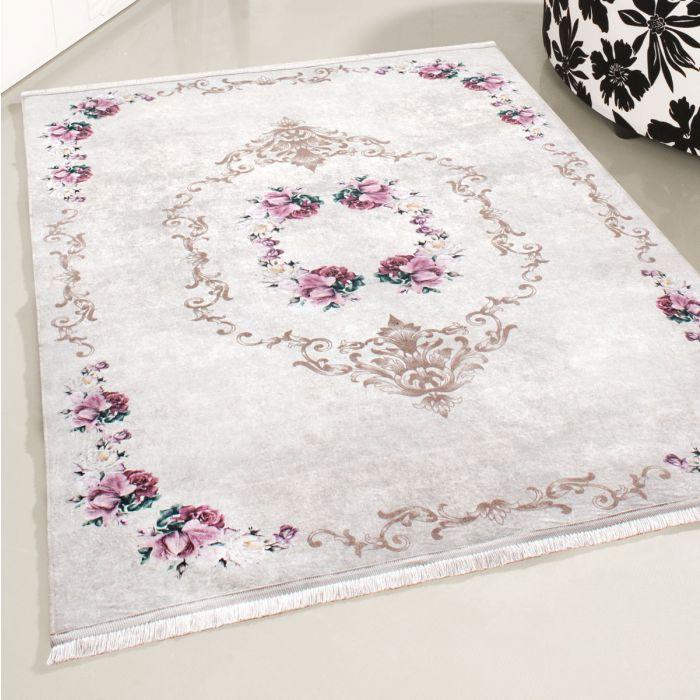 Waschbarer Teppich Antibakteriell Rosa Floral mit Umrandung M2940J