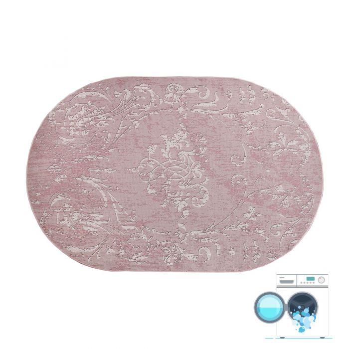 Oval 120x180 cm Teppich Waschbar Rosa Modernes Kelim Design MY1000P