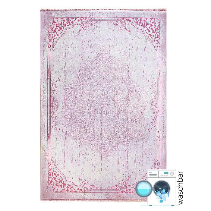 Teppich Waschbar Antibakteriell Rosa Designer Medaillon Muster M1100P