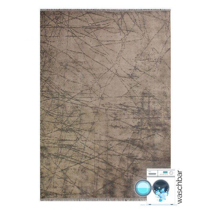 Teppich Waschbar Antibakteriell Beige Abstraktes Design M1200J