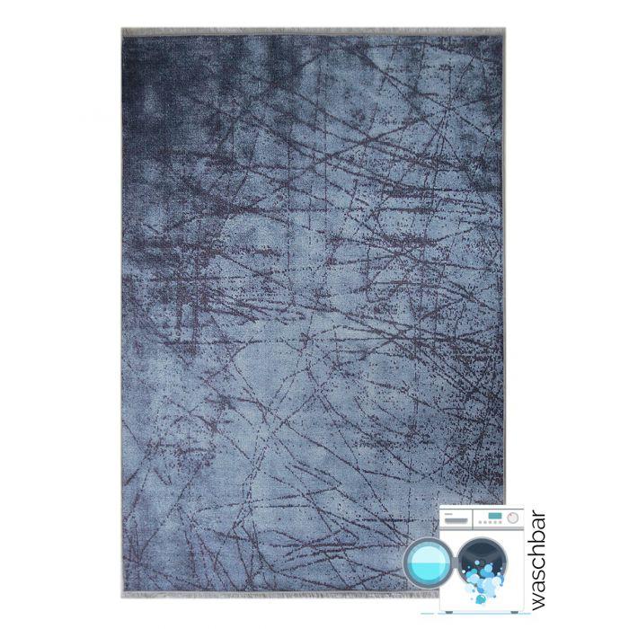 Teppich Waschbar Antibakteriell Blau Elegant Abstraktes Design M1200M