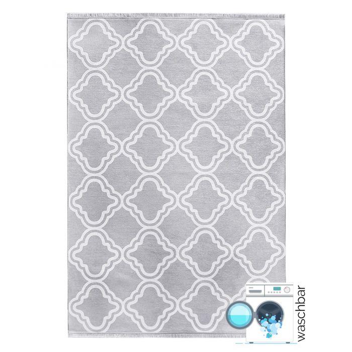 80x300 cm Teppich Waschbar Grau | Modernes Kelim Look | MY1260S