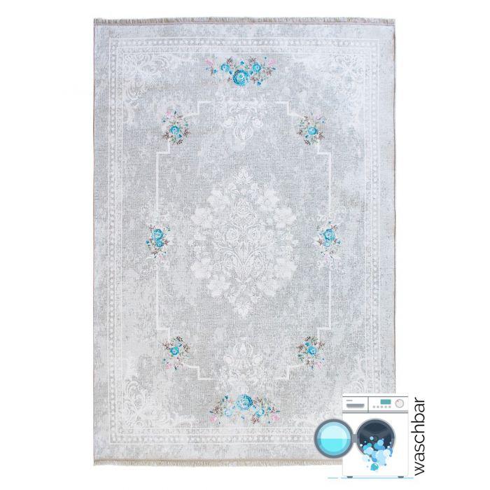 Teppich Waschbar Antibakteriell Grau Shabby Chic Muster M1300S