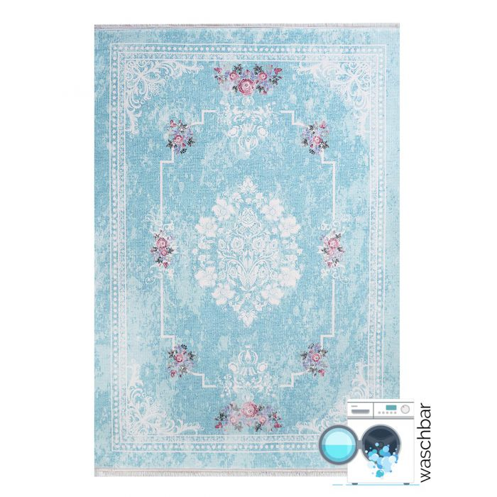 80x300 cm Teppich Waschbar Türkis Shabby Chic Design Medaillon MY1300T