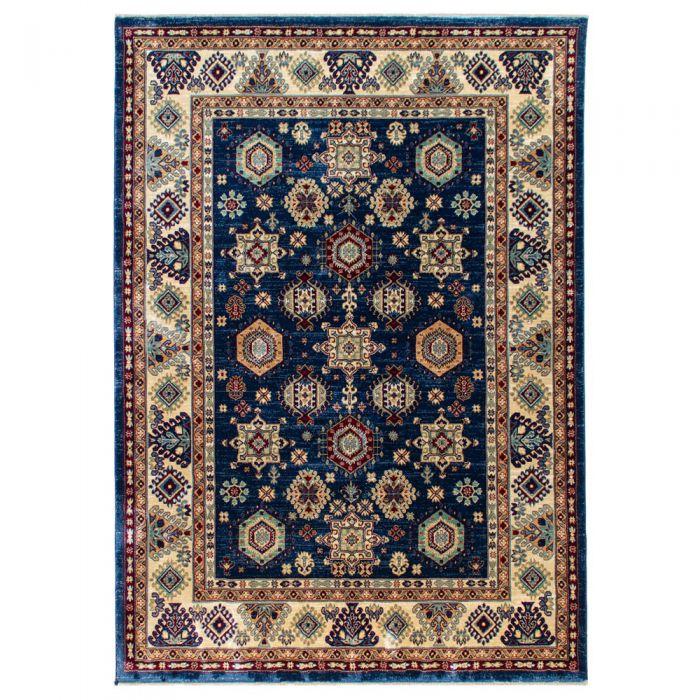 160x240 cm Hochwertiger Orientteppich Seidenimitat Kurzflor Blau MY1349