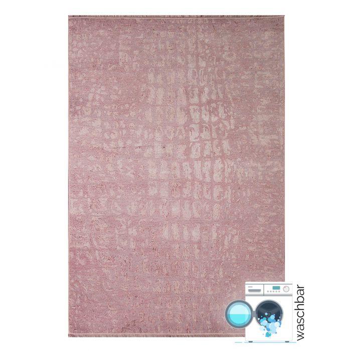 80x300 cm Teppich Waschbar Rosa | Granit Muster Modern | MY1400P
