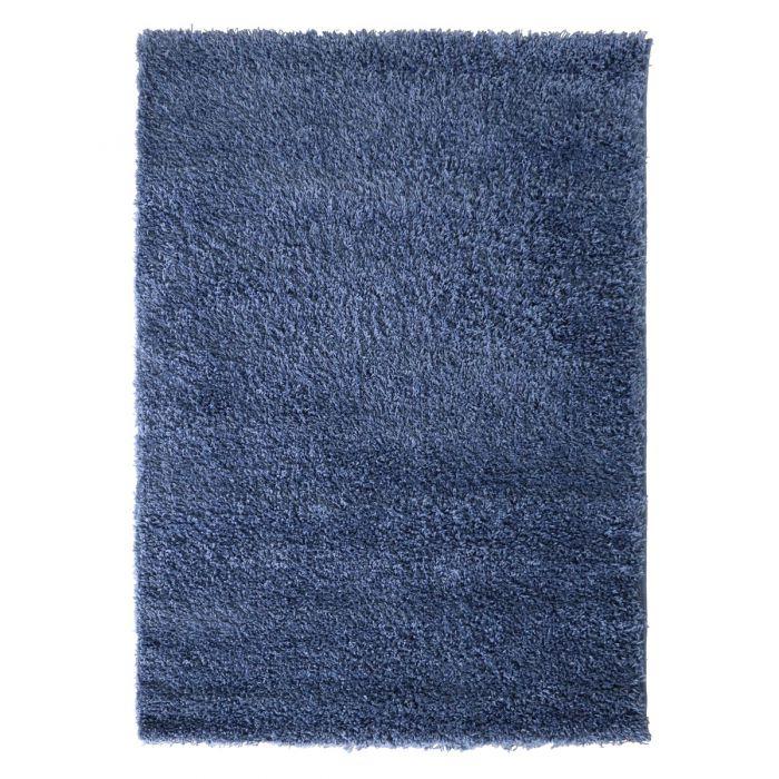 40 mm Shaggy Hochflor Teppich Blau Einfarbig Uni M170