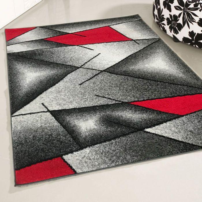 Moderner Kurzflor Teppich Rot Designer Muster M1790
