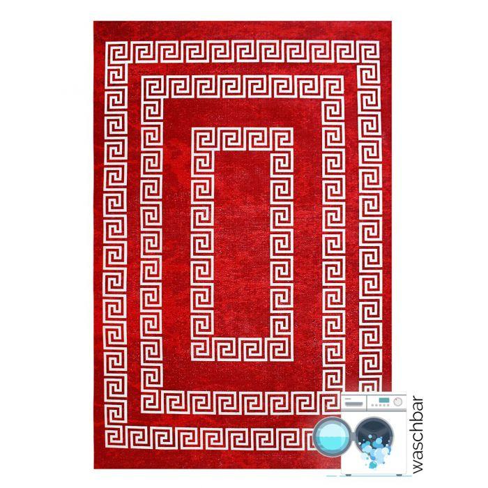 Teppich Waschbar Rot   Versace Muster Design   MY1800K Majestik-1800-Red Outdoor