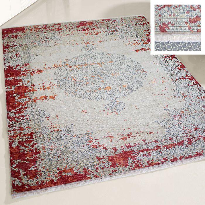 120x120 cm Teppich Waschbar WeinRot Medaillon Vintage Used Look MY1900DR 48646 Teppiche in Rund 120 cm