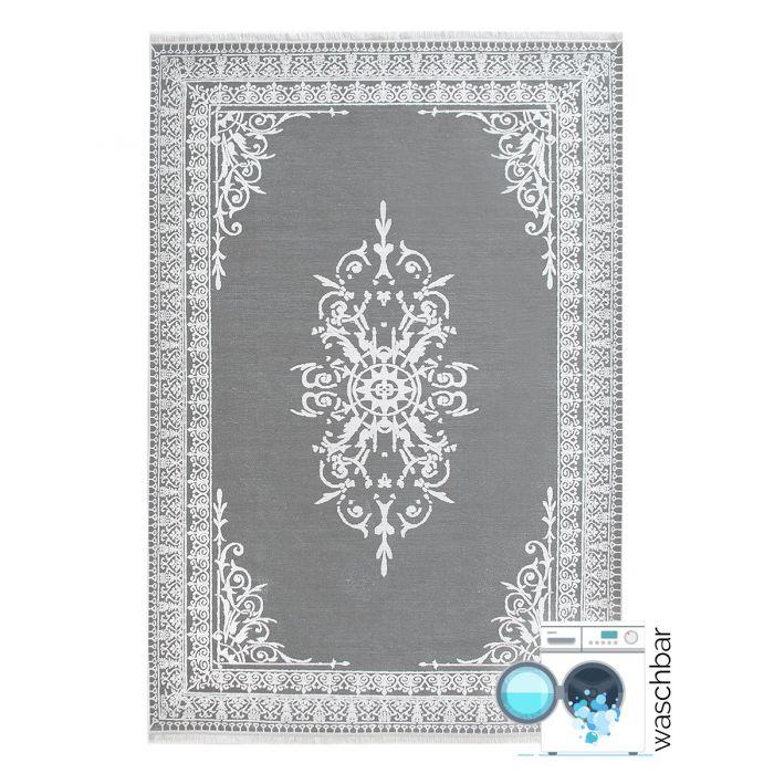 Teppich Waschbar Antibakteriell Grau Medaillon in Bordüre Style M2000S