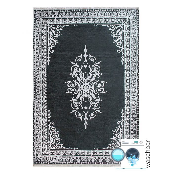 Teppich Waschbar Antibakteriell Grau Medaillon in Bordüre Style M2000A
