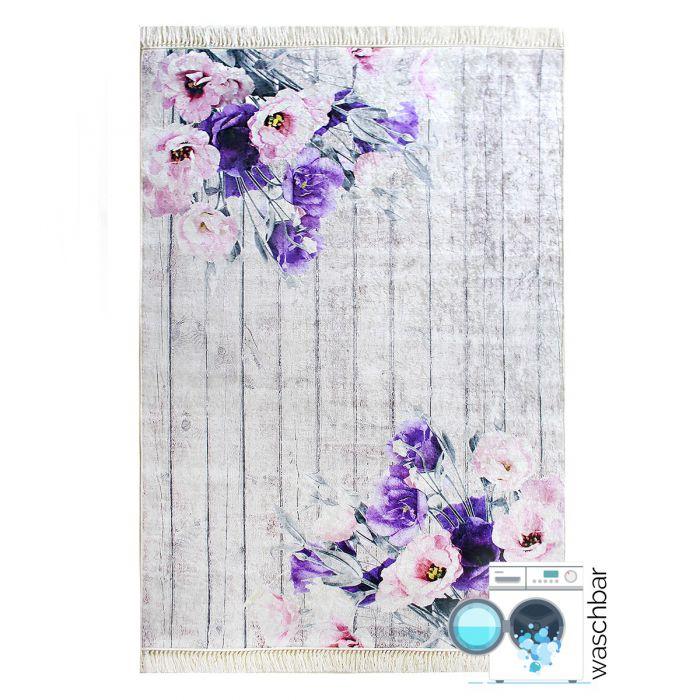 120x170 cm Waschbarer Teppich Lila Blumen Landhausstil Shabby MY2110 47721 MoebelDe