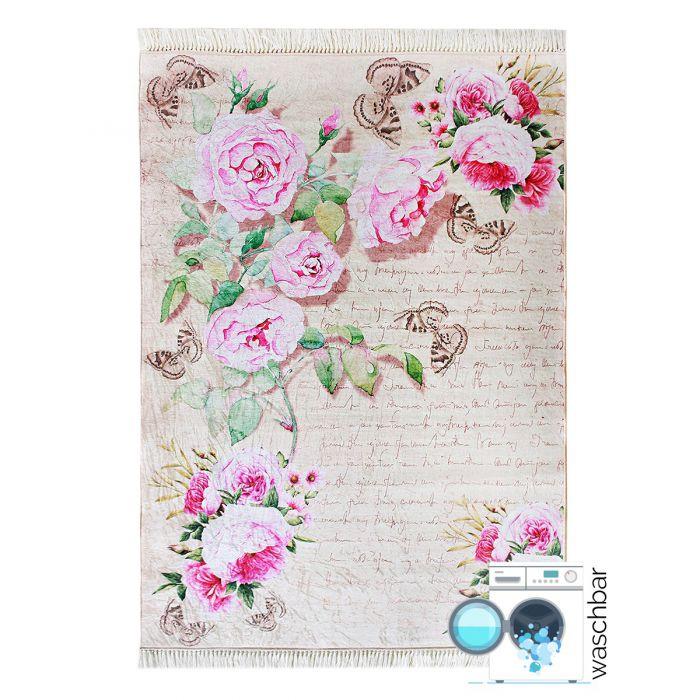 80x150 cm Waschbarer Teppich Rosa Blumen Shabby Chic Landhausstil MY2130 48262 Teppiche in 80x150 cm
