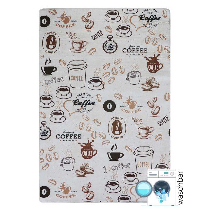 Antibakteriell Waschbarer Küchenteppich Kaffee Muster Braun M2200
