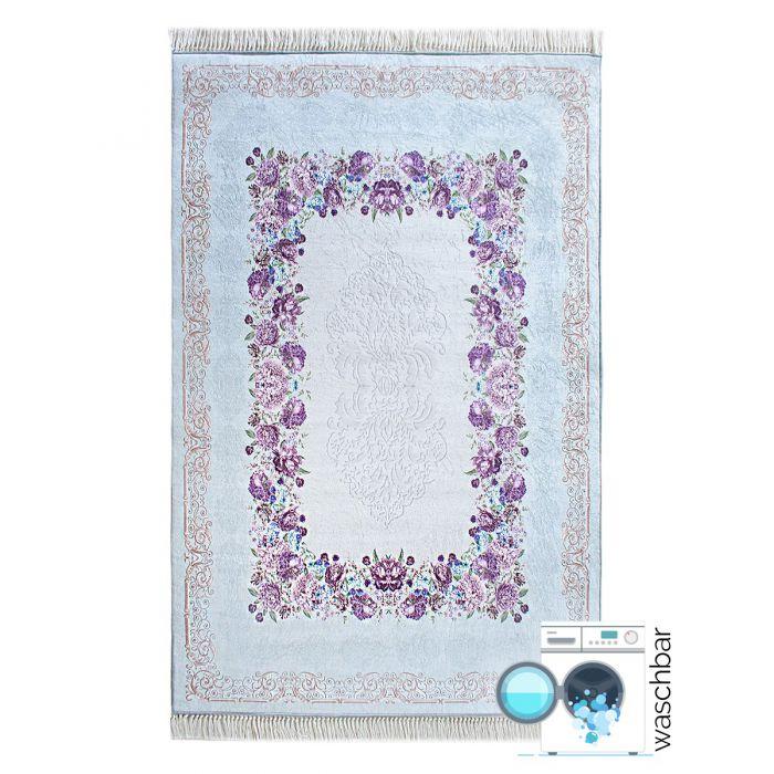 Waschbarer Teppich Antibakteriell Türkis Moderne Blumen M2410