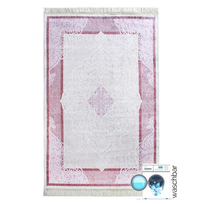 Waschbarer Teppich Antibakteriell Rosa Moderne Bordüre M2511