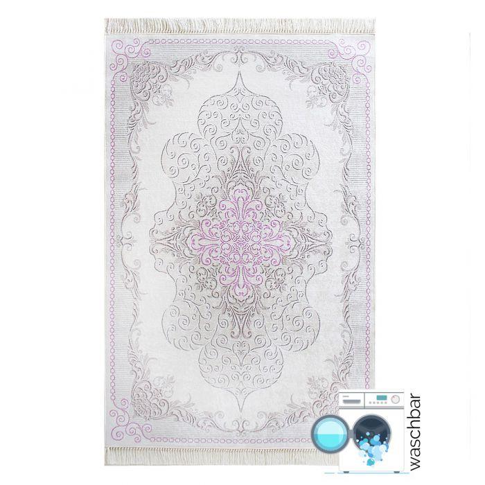 Used Look Teppiche Antibakteriell Waschbarer Teppich Rosa Pink | Moderner Medaillon Design | MY2516
