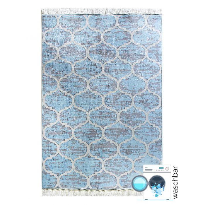 Waschbarer Teppich Hell Blau Meliert   Marrokanisches Design   MY2740 Caimaz-2740 Valetntinstag