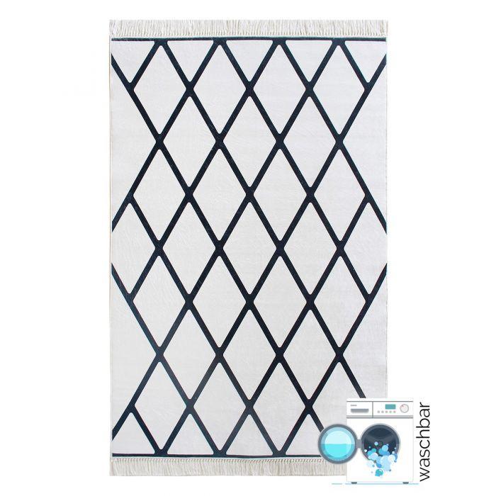 Waschbarer Teppich Antibakteriell Schwarz Weiss Geo Design M2750