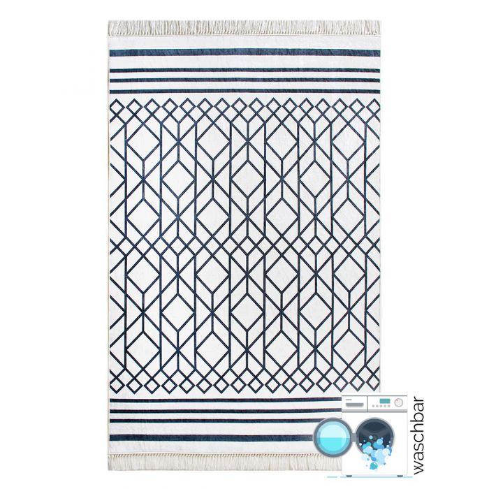 Waschbarer Teppich Schwarz Weiss | Moderne Boho Boheme Stil | MY2760 Caimaz-2760 Skandinavische Teppiche