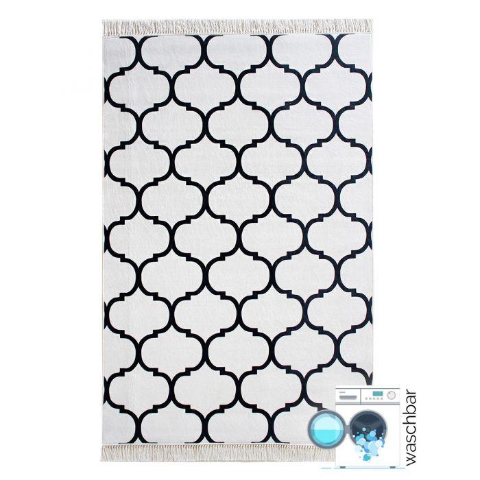 Waschbarer Teppich Antibakteriell Schwarz Marokkanisches Design M2790